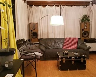 speakers, garden bench, comfy leather sofa, textiles, and accessories