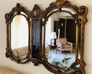 Show stopper. Regal, Ornate Double Arch Mirror with Smoky Glass insert. Would look great in a modern loft or on a brick wall! Wood and very heavy. mint.