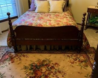 Consider H. Willett  Nice Vintage Full SIze Bed, Beautiful Full Size Comforter, Beautiful Floral Wool Rug