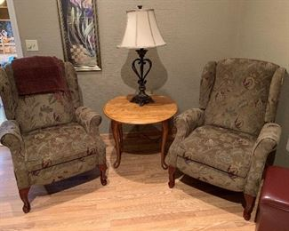 WIng Back CHairs, Table, Lamp