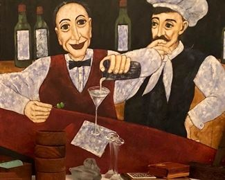 Really cool, large original painting. Italian flair in a restaurant, bar setting. A statement piece!