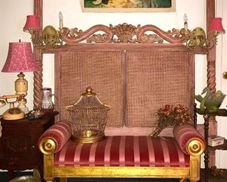 Gorgeous, heavy wood and woven queen headboard shown with a Robb and Stuckey, Italian bench seat with gold leaf accents.