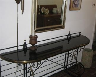 Iron & glass wall table