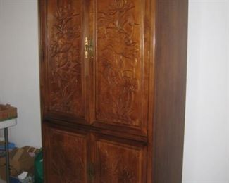 Drexel carved front cabinet/armoire
