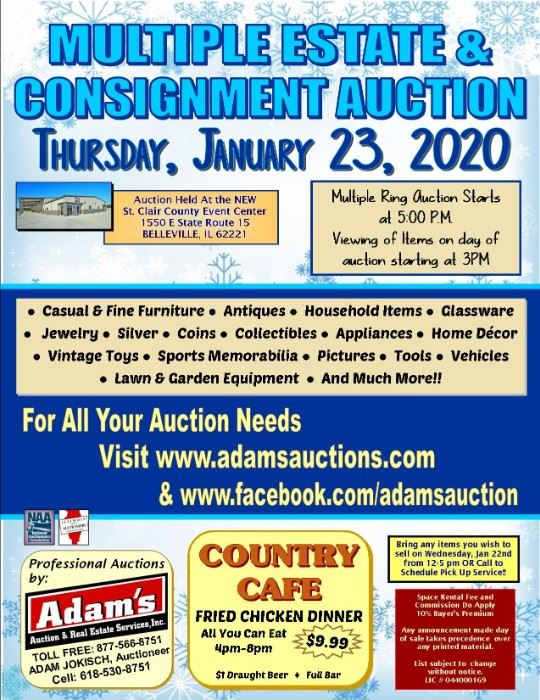 January 23rd Multiple Estate Consignment Auction Starts On 1 23 2020