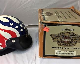 https://www.ebay.com/itm/124145399719KB0089: Harley Davidson Red White and Blue Flame Open Face Helmet XL $80