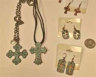 https://www.ebay.com/itm/114173864939BOX074AG COSTUME JEWELRY CHRISTIAN COPPER CROSS NECKLACE & EARRING LOT  $10