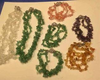 https://www.ebay.com/itm/114173876209BOX074Ai COSTUME JEWELRY LOT OF TWO STONE NECKLACES & FIVE STONE BRACELETS  $20