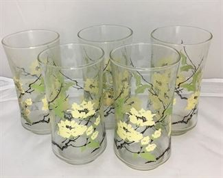 """https://www.ebay.com/itm/114194996212BR002: Mid-Century Modern Glass Tumblers with White Flowers on Branches, 5 pieces, 5""""  $20"""