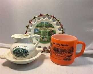 https://www.ebay.com/itm/124162075710BR005: Vintage Great Smoky Mountains Creamer Dish, Mug, and Plate, 4 pieces  $20