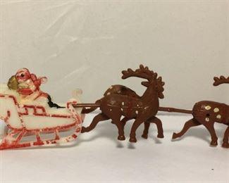 https://www.ebay.com/itm/124164828620KB0126: Vintage Hard Plastic Santa in Sleigh with 3 Reindeer Made in Hong Kong $10