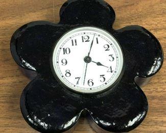 https://www.ebay.com/itm/124000654816LAN715: Lighthouse Glass New Orleans Hand Cast Art Glass Clock Blue  $15