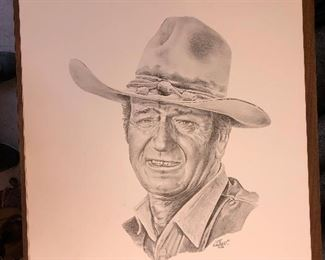 https://www.ebay.com/itm/114094921597LAN766: John Wayne by Mike Koerber 1984 Lithograph  $15