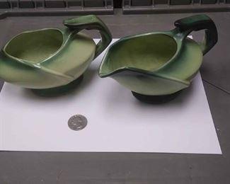 https://www.ebay.com/itm/114209780235AB0339 VINTAGE McCOY POTTERY TWO TONE GREEN CREAMER & SUGAR BOWL FOR PAIR BOX 78 AB0339$25