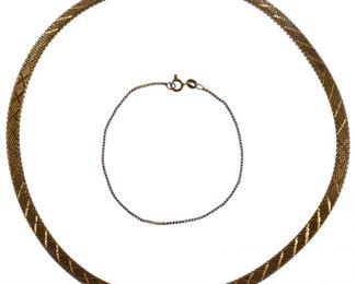 18k Gold Mesh Necklace and Bracelet