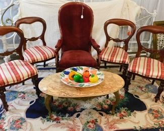 Set of 4 dining chairs, velvet armed chair, marble top coffee table, floral rug