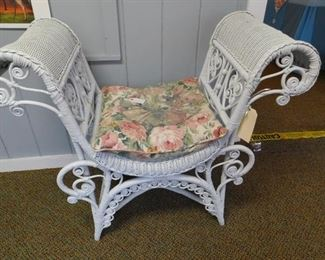 Antique  Fancy Wicker Bench,  Excellent Condition