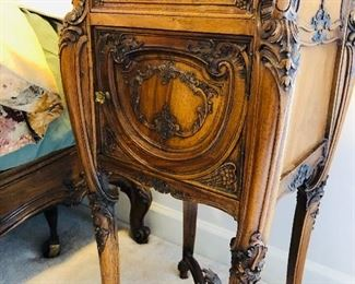 """Pair of antique Louis XV rococo chevets with marble tops, walnut, H 31 1/2"""", W 16"""", L 16"""""""