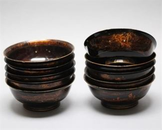 set of 10 Chinese lacquer bowls, possibly 19th c.