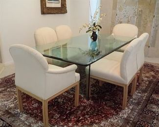 Glass top dining table with beveled glass, 6 chairs