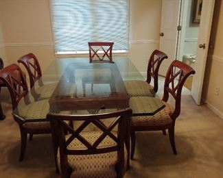Glass topped dining table w/ 8 chairs - price reduced