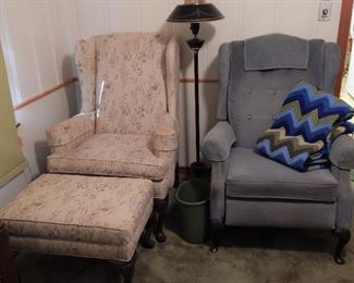 Ethan Allen Wingback Chair w/ Ottoman, Blue Chair is a Recliner