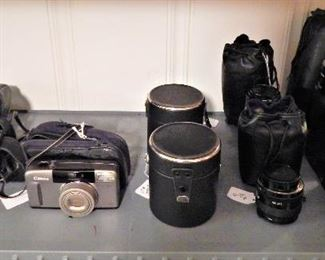 Canon Cameras, Lenses, and Lens Cases
