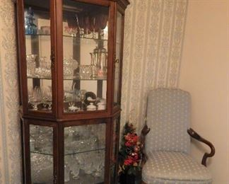 Lighted Curio and Hi-Back Chair w/ Mahogany Arms & Legs