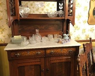 Eastlake Victorian Continental Sideboard/Marble top circa 1880-1900 Cherry ...
