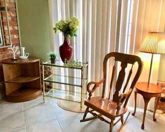 Ethan Allen rocker, Hollywood glass and brass cart, Frederick Cooper table lamp, corner cabinet