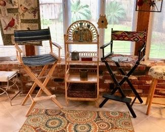 directors chairs, and wicker storage shelf