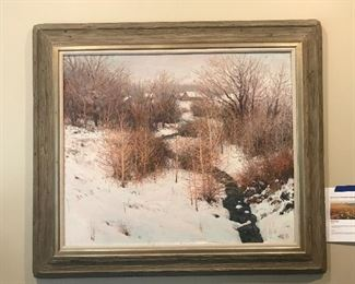 Terrance Hick (Colorado, Wyoming) oil painting framed in wormy chestnut frame