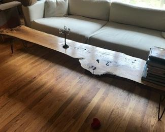 Free edge wood industrial dining table