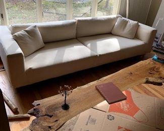 Modern Dema couch, Italian made, metal frame, boule fabric, down interior (tan)