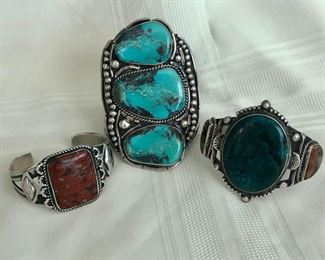 Vintage Native American turquoise cuff bracelets
