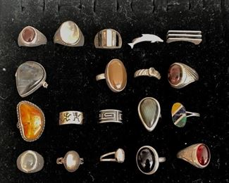 Vintage men's and women's sterling silver rings - various semi-precious stones.