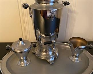 Vintage coffee set and tray with bakelite handles