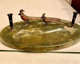 Antique onyx and brass pen holder/desk accessory