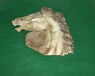 VINTAGE ITALIAN MARBLE HORSE BUST SCULPTURE