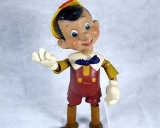 1930's COMPOSITION / WOOD APPROX 16 INCHES PINOCCHIO SIGNED WALT DISNEY MADE BY THE IDEAL NOVELTY TOY COMPANY.