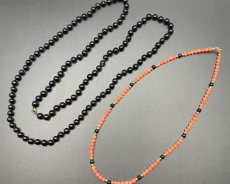 Beaded necklaces with onyx, coral and 14K gold, 50% off all weekend!