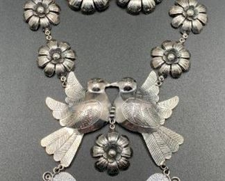 Frida collection .950 silver necklace and earrings set, a high-quality vintage reproduction from Mexico, 50% off all weekend!