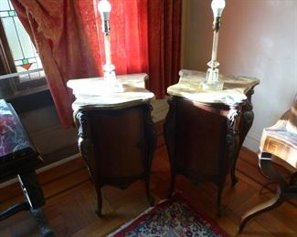 pair antique marble end tables