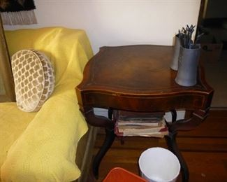 1 of a pair mahogany end tables