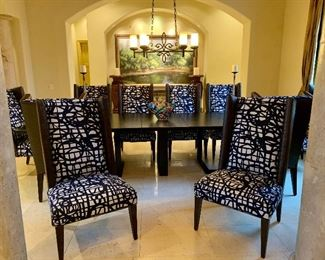 Set of 10 Leather Backed Dining Chairs