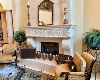 Vintage Louis Vuitton, Pair of Neoclassical Chairs, Pair of Maison Jansen Style Planters, Antique Mirror with Amethyst Color Framed Mirror