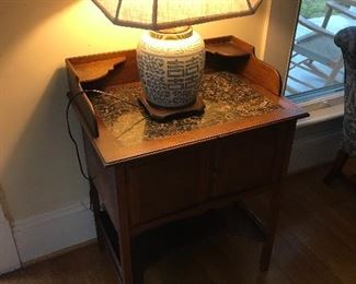 Antique marble top wash stand, blue and white lamp