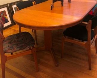 Exquisite 'Mobler' Vintage Chairs in beautiful condition!  Solid teak Dania Dining Table. Sold separately or as a set!