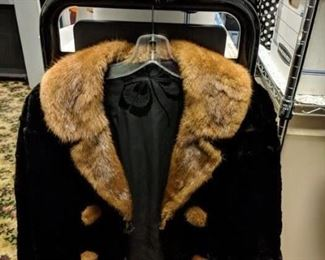 sheard black fur jacket and hat with mink trim