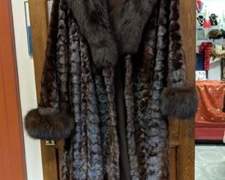 gorgeous long mink coat with fox cuffs and collar